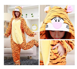 Wholesale Women pajamas tigger stripe with hood animated cartoon cosplay lovely for men and women pajamas onesie