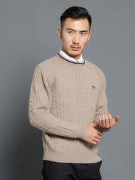 2017 Sudaderas Men Sweater Men Crew Neck Long Sleeve New Arrival Mens Casual Classic Crew Neck Fit Allover Cable Knit Pullover Sweater Top