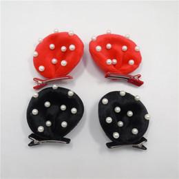 Promotion pinces à cheveux ronds 10pairs / lot Minnie oreilles Clip Cartoon Minnie souris rouge noir ronde oreille Barrette cheveux avec perles simulées épingle classique