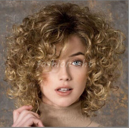 High Quality Fashion Picture full lace wigs >Fashion Women's Short Brown Blonde Mixed Curly Wave Full Wigs Cosplay Wigs