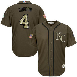 Wholesale New Alex Gordon Kansas City Salute To Service Limited Stitched Green Baseball Jersey clothing For Sale Size M L XL XXL XXXL