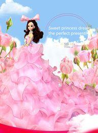 Wholesale cm New Arrival Wedding The Bride Wedding Dress Princess Skirt Trailing Dress pink Big skirt trailing Barbie Dolls