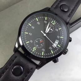 Tous les Subdials Working Pilot Montre de Luxe Montres Hommes Montre Chronographe Top Bracelet en Cuir Montre Quartz pour hommes relojes cadeau Livraison gratuite à partir de bracelet en cuir pilote fabricateur
