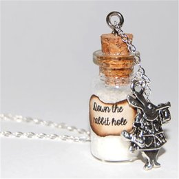 12pcs lot Alice In Wonderland Handmade Glass Bottle Necklace - The White Rabbit down the rabbit hole message silver necklace