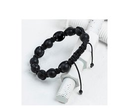 Men fashion designer hand rope jewelry, Black Agate agate stone, personalized original gift jewelry with wear