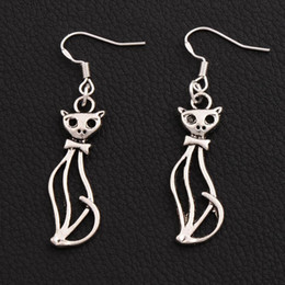 Slim Lady Cat Earrings 925 Silver Fish Ear Hook 40pairs lot Antique Silver Chandelier 11x51mm E1162
