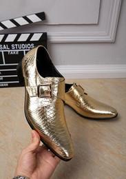 2017 chaussures robe de moine Chaussures en cuir véritable pour hommes Chaussures de luxe en or pour affaires formelles Chaussures Brogues Fête de banquet Boucle Oxfords Hommes Monk Strap Chaussures