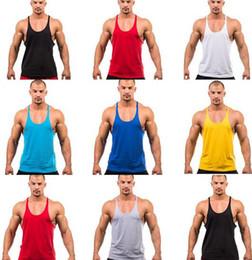 Wholesale 50Factory direct sale colors Cotton Stringer Bodybuilding Equipment Fitness Gym Tank Top shirt Solid Singlet Y Back Sport clothes Vest
