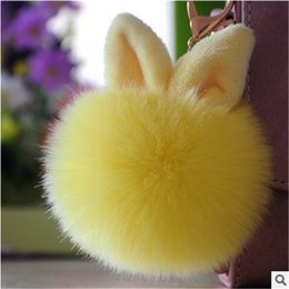 8 kinds of colors car key chain imitation fox rabbit fur cashmere key chain cute rabbit pendant creative mobile phone package decoration
