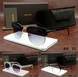 Wholesale 2016 Hot Sale Top quality Fashion TOM Designer brand men women FORD Luxury dita Driving Black Metal binding sunglasses mm crocodile glasses