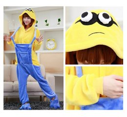 Wholesale Flannel pajamas cute cosplay little yellow people animated cartoon conjoined pajamas couples home leisure party