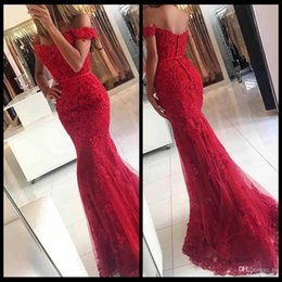 Elegant Lace Mermaid Red Prom Dresses 2020 Sweetheart Backless Off Shoulder Appliques Formal Party Gowns Robe De Soiree