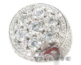 Mens Diamond 14k White Gold Round Cut F-G Color VS1 Ring 6.20ct