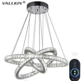 VALLKIN® Dimmable LED Round 3 ring Crystal Pendant Lights Lamp Chandelier Lights Lamps Lighting Fixtures with Remote control for Dining