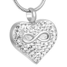 IJD8325 Infinity Love Cremation Jewelry for Ashes Eternity Memory Urn Keepsake Necklace Shiny Crystal In Heart