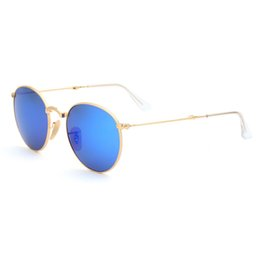 Espejo de cristal clásico en venta-Gafas de sol Classic Blue espejo lente plegable metal ronda marco gafas de sol para hombres marca diseñador moda mujer gafas de sol con caja original