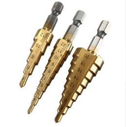 2016 forets en métal 3pcs / set billes de forage de trépied en titane 3-12mm 4-12mm 4-20mm HSS Power Tools acier à haute vitesse de forage de métal en bois forets en métal à vendre
