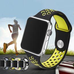 Caoutchouc respirante en Ligne-Chaîne de montre en caoutchouc sport Flexible respirant pour Apple Watch Band Series 42MM 38MM Bracelet en silicone pour Iwatch Accessorie