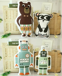 2017 coussins en peluche farcis Vente en gros - Mode Lovely Cartoon Animals Panda Bear Robot Coussin Pillow Baby Calm Sleep Dolls Peluche pour enfants Kids Decoration Room coussins en peluche farcis offres