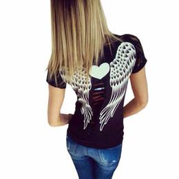 Descuento de manga corta cuello en v El ángel hueco de la parte posterior de la camiseta de las mujeres de la manera se va volando la camiseta de las tapas de la manga del cortocircuito del cordón de la mujer del estilo de las tapas de la camiseta