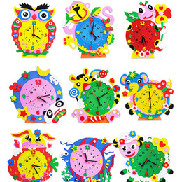 Wholesale Set Creative DIY D Handmade EVA Cartoon Animals Early Learning Clock Puzzles Arts Crafts Kits Baby Kids Birthday Gifts Toys