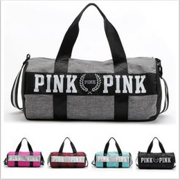 Wholesale Women Pink Handbags Secret Letter Travel Bags VS Beach Bag Duffle Striped Shoulder Bags Large Capacity Waterproof Fitness Yoga Bags B1406