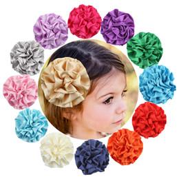 Acheter en ligne Pinces à cheveux ronds-Baby Glossy Mousseline de cheveux Clips Newborn Infant Solid Floral Hair Barrette Hot Sale Girls Ronde Ornement Accessoires Cheveux