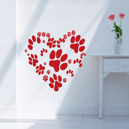 2017 Hot Sale Cool Graphics Animal Paw Print Heart Design Wall Vinyl Stickers Love Dog Cat Pet Mural Decal DIY