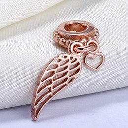 Wholesale 925 Sterling Silver Not Plated Angel Wing Shoes Rose Gold Plated Pendant Charm European Charms Beads Fit Pandora Chain Bracelet DIY Jewelry