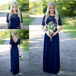Country Style 2019 Dark Navy Long Bridesmaid Dress with Half Sleeves Scoop Neck Lace Chiffon Floor Length Maid of Honor Evening Party Gowns