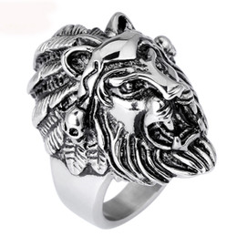 Wholesale-Titanium Steel Lion Head Rings For Men Allergy Punk Rock Jewelry Non-Mainstream Cool Men Rings Party Accessory