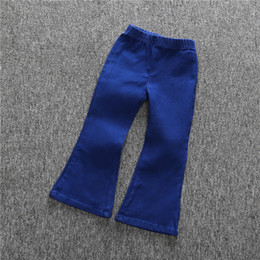 Wholesale Baby Girl Denim Bells Pant Ruffles Cute Kids Girls Vintage Fashion Summer Fall Children Pants