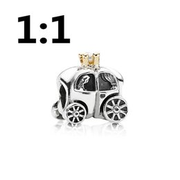 Wholesale Silver ct Gold Plated and Pearl Carriage Charm Fit for pandora style bracelets P