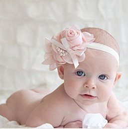 Wholesale ASDY Hot Baby Girls Kids Lovely Roses Pearls Hair Bands Vintage Flowers Hair Accessories Pretty Headbands Infant Headbands Color