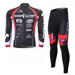 Descuento baberos ciclismo cubo 2017 Tour de Francia Cube manga larga ciclismo Jerseys ciclismo Bib Pantalones Set ropa de ciclismo Maillot Ciclismo D0833