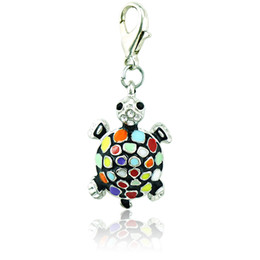 Fashion Bulk Charms 6 Color Rhinestone Enamel Tortoise Lobster Clasp Animal DIY Pendants Jewelry Making Accessories