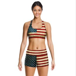 Wholesale USA Flag Camisoles Retro Tanks Shirts Running Singlet Pinstriped Vest American Flag Camisole Gym Sports Tank Tops Digital Print Sleeveless
