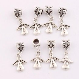 Wholesale 28 x13 mm Antique Silver Baby Angel Wings Charm Beads Dangle Fit European Bracelets Jewelry DIY B197