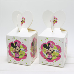 Wholesale Minnie Mouse Supplies Paper Bags Baby Shower Souvenirs Gift Box Favor Candy Birthday Party Kids Decorations Event Party