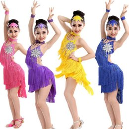 Hot Sale Latin Dance Dress For Girls Children Ballet Tutu Tassel Kids Dance Dresses Modern-Dance-Costumes-For-Kids Dancewear Dress For Kids