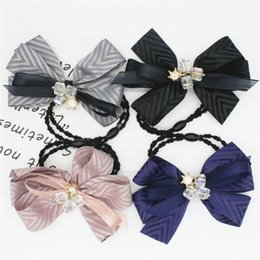 New 2017 Hair Accessories Women Lace Fabric Bowknot Rhinestone Multicolor Elastic Hair Rubber Bands Hair Jewelry