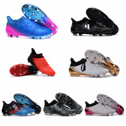 Wholesale 2017 New Techfit NSG X Purechaos Mens football boots Low soccer shoes FOOTBALL Cleats SHOES X Purechaos FG AG Messi cleats
