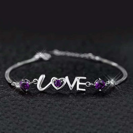 925 sterling silver jewelry crystal charms bracelet chain pulseras love letters vintage girl fashion new arrival