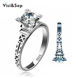 Visisap Eiffel tower ring White gold color rings for women wholesale Wedding anel cubic zirconia vintage jewelry VSR040