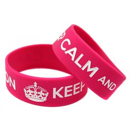 50PCS Lot Hot-Selling! Brand New 1 Inch Wide Bracelet Keep Calm And Carry On Crown Silicone Wristband