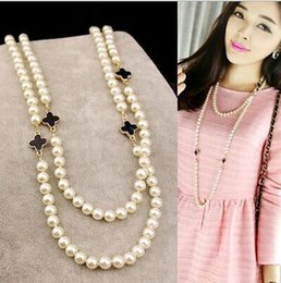 Wholesale Clothing Accessories Beads Pearls - Hot sale Korea style ladies girl beads chain women clover pearl necklace multi layer long sweater chain for female clothing accessories