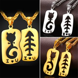 U7 Cat&Fish Lovers I LOVE U Pendant Necklace Gold Plated Stainless Steel Couple Jewelry Accessories Perfect Valentine's Day Gift GP2348