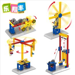 Wholesale Enlighten Model Building Blocks Kits Gear Educational Toys Assembly DIY Blocks Mechanical Engineer Merry Go Round Seesaw Model Gift With Box