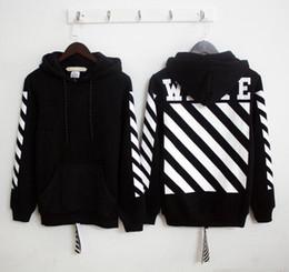 Newest US hiphop kanye west hoodie virgil abloh OFF WHITE stripe unisex men pullover hoodie vlone black white suprem hoodie free shipping