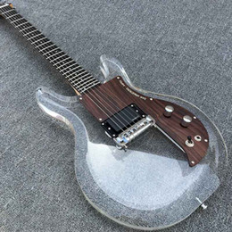 Wholesale New Product Acrylic body Electric Guitar Dan Armstrong Ampeg guitar with Wood pickguard Frets Transparent Guitar